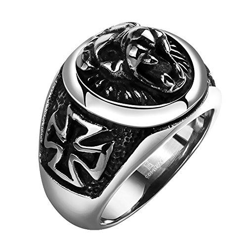 Skull Kreuz Aus Ringe Edelstahl (Massiver Edelstahl Biker Herren Ring Siegelring Panther Eiserne Kreuz Ø 17,8mm Umfang 56mm)