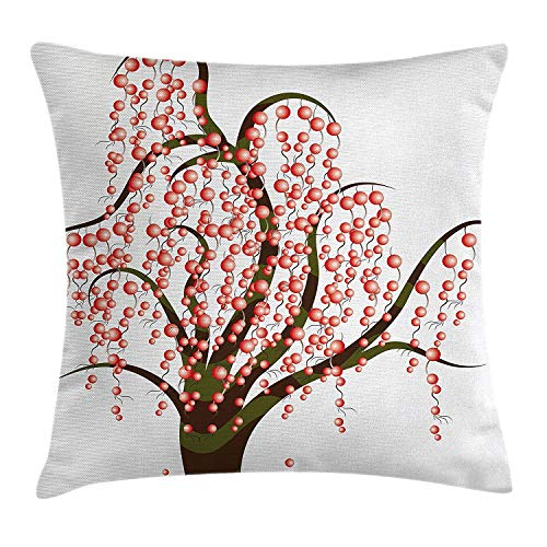 Berry Fun Dots (ZTLKFL Abstract Throw Pillow Cushion Cover by, Artistic Tree with Striped Trunk and Red Dots Berries Curvy Branches, Decorative Square Accent Pillow CaseOlive Green Brown Red 18x18inches)