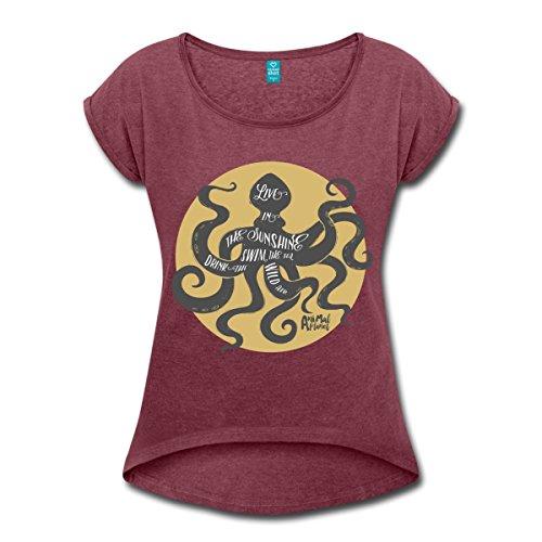 Oktopus Animal Planet Frauen T-Shirt mit gerollten Ärmeln von Spreadshirt®, XL, Bordeauxrot meliert