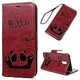 Mate20 Lite Handyhülle Huawei Mate 23 Lite Hülle Case PU Leder Tasche Panda Muster Flipcase Cover Silikon Schutzhülle Handytasche Skin Ständer Ledertasche Klapphülle Schale Bumper Magnetverschluss-Rot