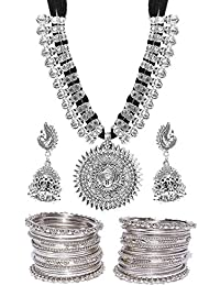 YouBella Jewellery Sets for Women Silver Plated Afghani Tribal Necklace Jewellery Set with Earrings and Bangles Combo for Girls/Women