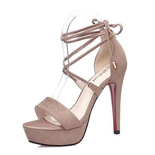 LGK&FA Una Donna Di Stiletto Tacco Alto Sandali Con Scarpe Impermeabili. 35 Nero 36 Khaki
