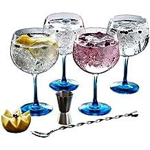 Luminarc Fiesta Combinados Color Gin - Set, 6 piezas (4 copas, cuchara y medidor)