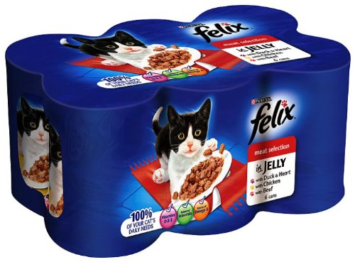 Felix Meat Selection in Jelly 6 x 400 g (Pack of 4, Total 24 Cans)
