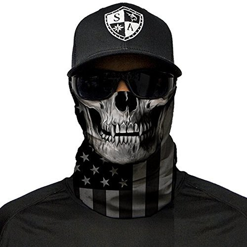 SA Fishing Company Face Shield Sturmhaube *viele verschiedene Designs* Multiunktionstuch Maske Fishing Totenkopf Schal Skull Bandana Gesichtsmaske Halstuch Ski Motorrad Paintball Halloween Maske (Blackout American Flag Skull)