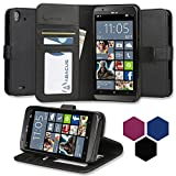 BLU Win HD LTE Case, Abacus24-7 Win HD LTE Wallet Case [Book Fold] Leather Flip Cover with Foldable Stand, Pocket for ID, Credit Card Slots - Black Flip Case for BLU Win HD 4G LTE X150E Windows Phone