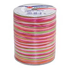 Prasent 50 m Rayon Raffia Spool Ribbon, Pink/ Multi-Colour