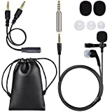 Lapel Microphone, PChero Microphone cravate 2 en 1 omnidirectionnel à revers de 3,5 mm avec séparateur de casque et adaptateur Jack pour iPhone et Andriod...