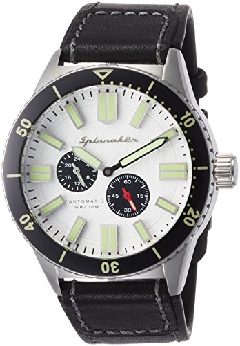 Spinnaker Hass Diver Men's Automatic Watch with Silver White Dial Display on Water Proof Genuine Leather Strap SP-5032-03