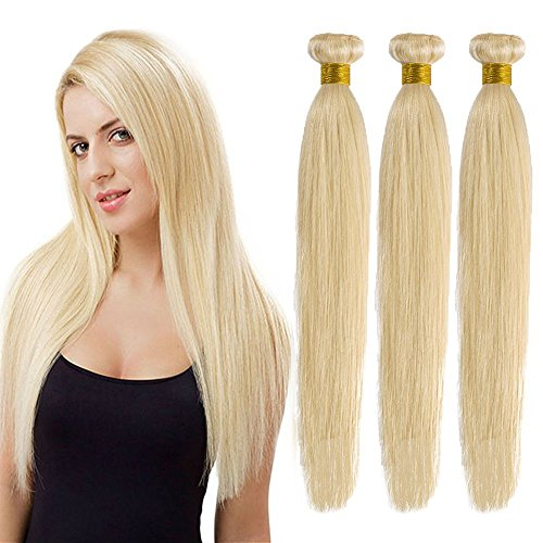 Extension capelli veri tessitura biondo matassa grado 7a - 100% remy virgin human hair naturali umani lisci, 613# biondo chiarissimo 55cm 100g
