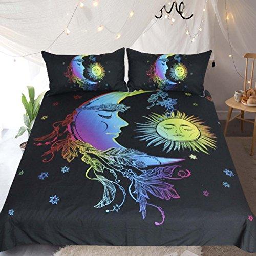 Sleepwish Celestial Sonne, Mond und Sterne Bettbezug Set Bohemian Colorful Bett Sets 3Stück Cosmic Bettwäsche-Set King