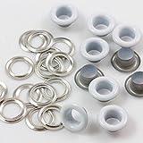 5mm Tüllen weiß Ösen mit Silber Unterlegscheiben für Stoff Vorhänge Leder Plane Vinyl Arts & Craft von trimmen Shop