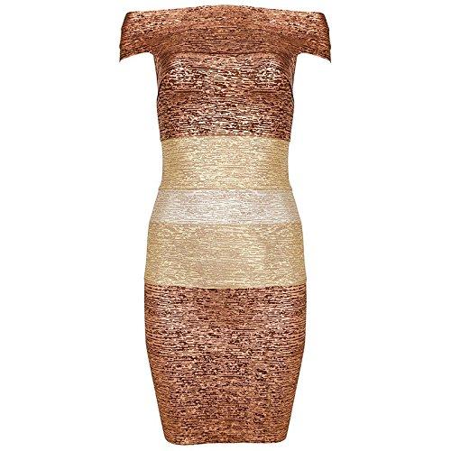 HLBandage Women's Sexy Metallic Off Shoulder Rayon Mini Bandage Dress Or