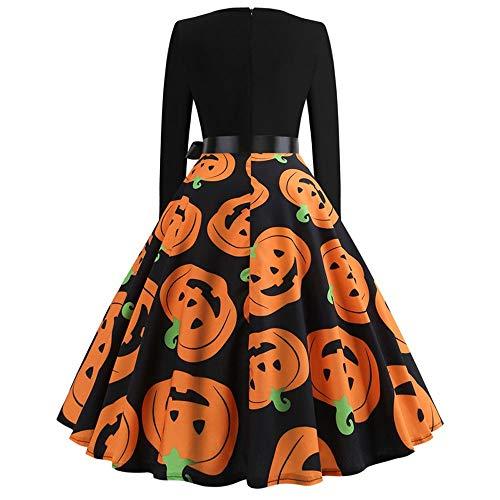 Yesmile Halloween Kostüm Damen kürbis Vintage Retro A-Linie Elegant Lange Ärmel Kürbis Printed Skater Kleider Halloween Kostüm Cocktailkleid Party Kleid