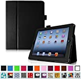 Fintie Folio Case for iPad 4th Generation with Retina Display, the New iPad 3 & iPad 2 - Slim Fit Vegan Leather Smart Cover with Auto Sleep / Wake Feature - Black