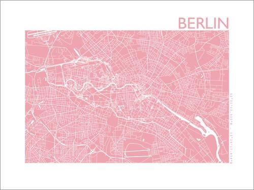 Poster 80 x 60 cm: Stadtplan von Berlin von 44spaces - hochwertiger Kunstdruck, neues Kunstposter -