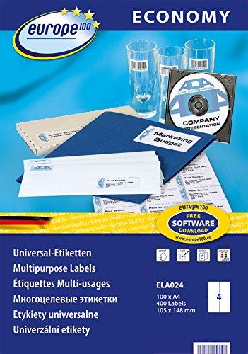 Preisvergleich Produktbild europe100 ELA024 Universaletiketten, 105 x 148.5 mm, 100 Blatt/400 Etiketten, weiß