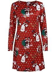 Paolian Les Femmes de Noël Impriment des Robes Longues Manches Minces pour Soirée de Fête