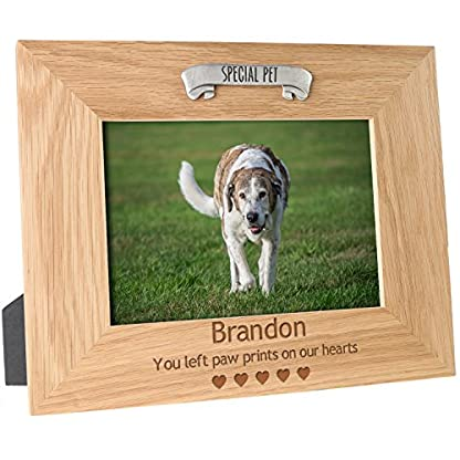 De Walden Dog Memorial Engraved Oak Photo Picture Frame Pet Remembrance Gift 1