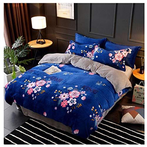 Unbekannt Flanell-Blätter sind Kissenbezug Muster dick warm Vier-Stück Heimtextilien einfache großzügige Bettwäsche Winter 4 Farben MUMUJIN (Farbe : Blau, größe : 1.8m)