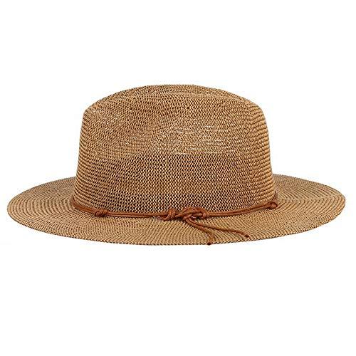 LIWEIL Sommer Hut Panama Hüte aushöhlen Strohhut für Männer Frauen Leder Band große Krempe Sun Beach Hut Jazz Cap