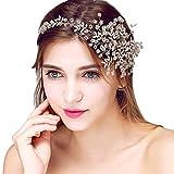 YAZILIND delicada boda tocado nupcial diadema flores rhinestones accesorios de pelo para mujeres y niñas (1pcs)