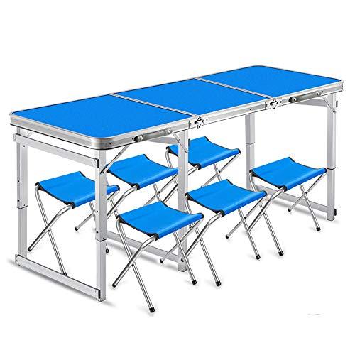 JFJL Aluminium Leichte, tragbare Falten, einfache, saubere Camping-Tisch mit 6 Stühlen, höhenverstellbar, tragbar und leicht, für Outdoor, Camping, Picknick, Grill, Party und Essen,Blue - Aluminium-outdoor-grill