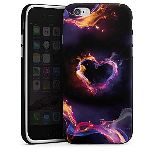 Apple iPhone X Silikon Hülle Case Schutzhülle Liebe Herz Brennendes Herz Silikon Case schwarz / weiß