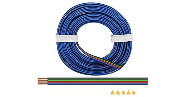 10m Kabel Vierlingslitze 4x0,25mm² schwarz//grün//rot//blau für RGB LED 10 Meter