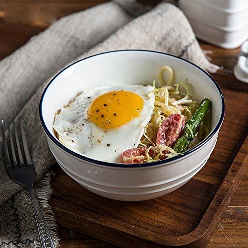 Nudeln Blaue Und Schalen Weiße (6-Zoll-Haushalts Instant-Nudel Schüssel / Suppe Schüssel japanischen Geschirr / große Reis Schüssel / Keramik Ramen Schüssel / Dessert Schüssel / Salat Schüssel)