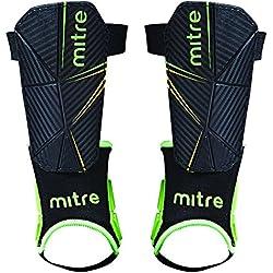 Mitre Delta tobillo Proteger Fútbol Espinilleras Shinpad Negro, unisex, color Negro - negro, verde y amarillo, tamaño mediano