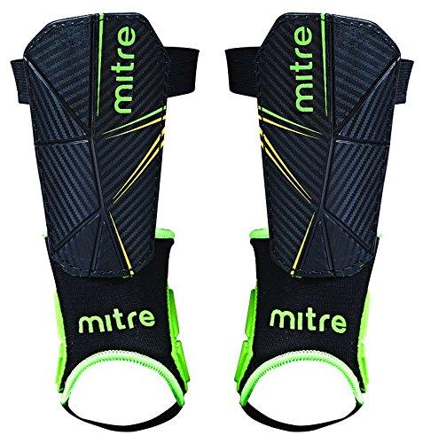 Mitre Delta tobillo Protección de fútbol espinilleras, Unisex, color negro, verde y amarillo, tamaño large