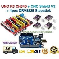 Módulo de expansión Arduino CNC shield V3.0 + Arduino UNO R3 + 4pcs controladores de motor paso a paso DRV8825 con disipadores de calor