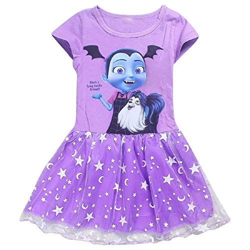 KIRALOVE Kleid - Kleid - Intero - Vampirin - Torte - Tulle - Tutu - Sommeranzug - Mädchen - Mädchen - Cosplay - Karneval - Halloween - Farbe Violett, Violett 130 cm