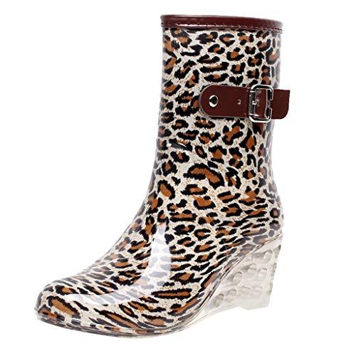 MrTom Botas de Agua Mujer Plataforma Transparente Botas de Lluvia Impermeable Botas de Seguridad Cuña Calzado de Trabajo Goma Zapatos de Jardín Exterior Antideslizante - Estampado de Leopardo