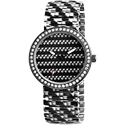 'Black Strap Ladies' Watch White Modern Scene Train Banduhr Analogue Strass Metal Wristwatch Wrist Watch