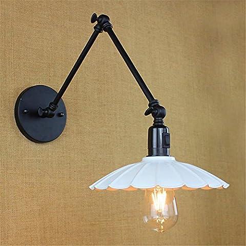 Larsure Vintage style industriel Lampe de Mur Mur lumière lampe applique murale Chambre Pliage industriel lampe de chevet long bras du miroir de l'accoudoir avec interrupteur rétro Wall Lamp, diamètre 240mm, longueur du bras 400 mm