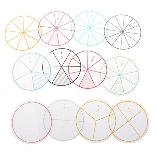 KESOTO 12 Unids Juguetes Montessori Círculos de Fracción Numerados Plástico Juego para Aprendizaje Preescolar para Niños