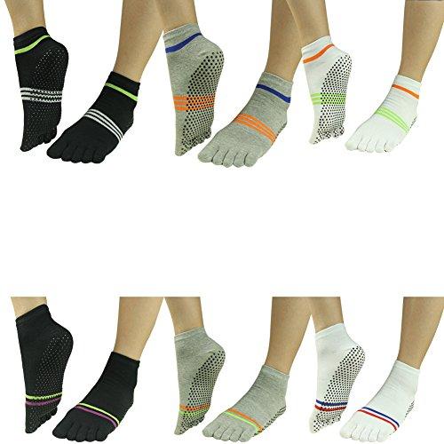 cf8f2069c Yoga Grip Cotton Socks for Women,J'colour Non Slip Soles Grip Socks for  Pilates and Barre Ankle Sport Stripes Toe Socks 6 Pairs - Buy Online in  Oman.
