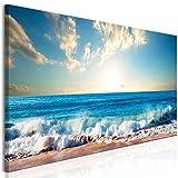 decomonkey | Bilder Strand Meer 150x50 cm | 1 Teilig | Leinwandbilder | Bild auf Leinwand | Vlies | Wandbild | Kunstdruck | Wanddeko | Wand | Wohnzimmer | Wanddekoration | Deko | Blau Sonne Himmel