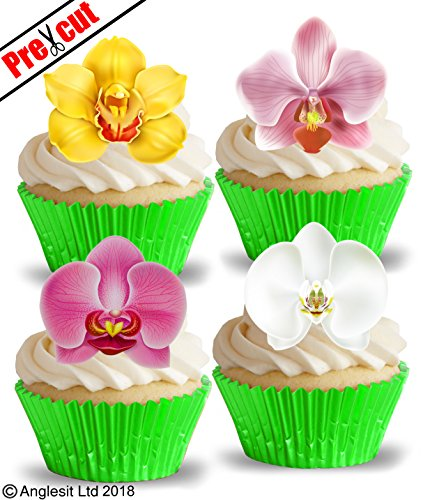 öne Orchideen essbarem Reispapier/Waffel Papier Cupcake Kuchen Dessert gemischt Farbe Flower Topper Birthday Spring Summer Party Hochzeit Baby Dusche Muttertag Ostern Dekorationen (Spring Party Dekorationen)