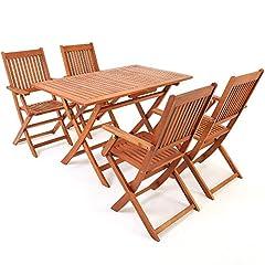 Idea Regalo - Deuba Set da pranzo da giardino 5 pezzi Sydney tavolo e sedie in legno di acacia Certificato FSC terrazzo balcone patio
