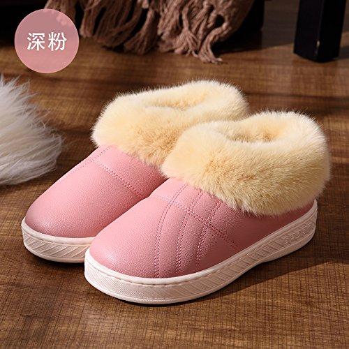 DogHaccd pantofole,Inverno alta aiutare caldo cotone pantofole pacchetto con un paio di uomini e donne home interno più spessa di velluto pu in pelle liscia impermeabile scarpe di cotone Rosa scuro1