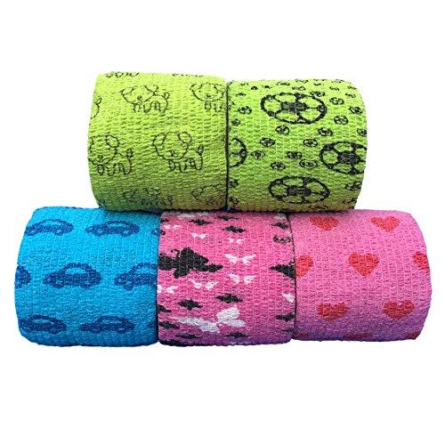 Verbände, Bandagen (LisaCare Fixierbinde 5cmx4,5m - 5er-Set Bunt Mit Motiven | Kohäsive Bandage | Wundverband | Pflasterverband | Kinderpflaster | Elastisches Verbandsmaterial)