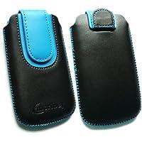 Emartbuy ® Schwarz / Blau PU Leder Tasche Hülle Schutzhülle Case Cover (Größe Medium) mit Ausziehhilfe Geeignet Für Nokia C5-03