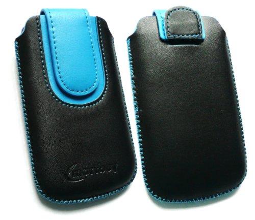 Emartbuy ® Schwarz / Blau PU Leder Tasche Hülle Schutzhülle Case Cover (Größe Medium) mit Ausziehhilfe Geeignet Für Huawei G6151