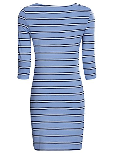 oodji Ultra Femme Robe Basique en Maille Bleu (7079S)