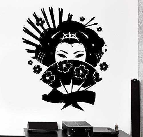 im japanischen stil wandtattoo geisha japan orientalische frau fan - mädchen wohnzimmer innere wand dekor - aufkleber art wandbild 56x68cm (Wohnzimmer Stil Dekor Im Orientalischen)