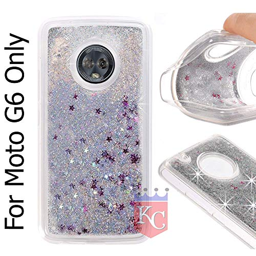 KC Liquid Flowing 3D Bling Glitter Star Case Transparent Soft Back Cover for Moto G6 - Silver