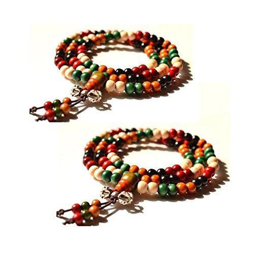 swirlcolor-2-pieces-108-pieces-bouddhiste-tibetain-priere-multi-strand-ronde-bois-de-santal-bracelet
